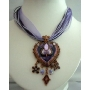 Purple Multi Strands Necklace Enameld Pendant w/ Dangling Victorian Style Necklace