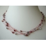 Elegant Round Neck Necklace Synthetic Thread Nylon Multi Strands w/ Siam Red Crystals