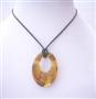 Topaz Painted Classy Murano Glass Oval Hand Painted Pendant Necklace