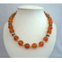 Genuine Amber Beads Jewelry Necklace w/ Bali Silver Spacing Round Beads