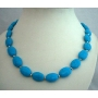 Genuine Natural Turquoise Handcrafted Necklace w/ Silver Beads Turquoise Choker