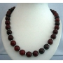 Genuine Cherry Amber Stone Beads Handcrafted Necklace w/ Silver Beads 30 Inches Long