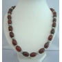 Genuine  Carnelian Ovals 10x14mm Stone Beads Handcrafted Necklace w/ Bali Silver Spacing 30 Inches Long