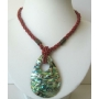 Abalone Shell Pendant Red Necklace