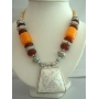 Ethnic Tribal Neckalce w/ Simulated Cat Eye & Wooden Bead  !