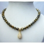 8mm Cinnamon Crystal Necklace Genuine Swarovski Dorado Crystal Necklace