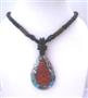 Multi Strand Black Beaded Necklace With Abalone Teardrop Embedded Coral Stone