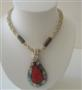 Multi Strand Cream Beaded Necklace W/ Abalone Teardrop Embedded Coral Stone