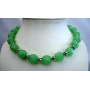 Handcrafted Artisan Designed Multi Faceted Green Agate Bead Necklace