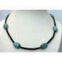 Custom Jewelry Genuine Onyx Tube Beads w/ Genuine Flat Autumn Turquoise Bead Necklace