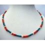 Genuine Turquoise Red Coral Ring Bead Necklace Handmade Custom Jewelry