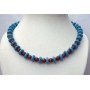 Genuine Turquoise & Coral Red Necklace Turquoise Ring w/ Faceted coral Red Beads Custom Jewelry