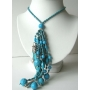Genuine Turquoise Dagger & Turquoise Beads Sterling Silver Necklace with Multi Strand Turquoise Tassel Drop Down