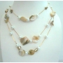 3 Strands Shell & Pearl Long Necklace White Shell & Simulated Pearl 26 Inches Necklace