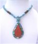 Multi Strand Turquoise Beaded Necklace With Abalone Teardrop Embedded Coral Stone