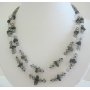 Handmade White Opal Necklace w/ Smokey Quartz & Onyx Chips Sterling Silver Clasp Necklace