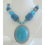 Simulated Turquoise Necklace w/ Lucite Beads Stunning & Striking Necklace 24 Inches