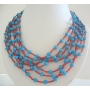 Multi Strands Long Turquoise And Coral Necklaces w/ Multi Strands Turquoise & Cora Beads Necklace 28 Inches Long