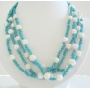 Sterling Silver Genuine Turquoise & Freshwater Multi Strands Necklace