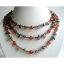Multi Gemstone Besads 3 Strands Necklace w/ Carnelian Beads Smokey & Rose and Opal Stone Chip Necklace