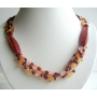 Garnet Beads Neckalce w/ Multi Gemstone Besads 4 Strands Necklace