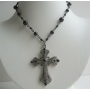 Crystal Cross Pendant Choker Necklace w/ Black Culture Pearl Necklace