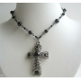 Black Culture Pearl w/ Jet Crystal & Black Diamond Crystal Cross Pendant Necklace