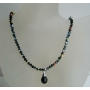 Jet Black Swarovski Beaded Jewelry AB Jet Crystal Tear Drop Necklace