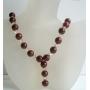 Handcrafted Custom Carnelian Beads Swarovski Ceylon Crystals Necklace