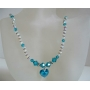 Blue Zircon Crystal And AB 2X w/ Blue Zircon Heart Pendnat Swarovski Crytal Necklace Handmade Jewelry