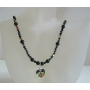 Heart Pendant Necklace Swarovski Mystic Pearl & AB Jet Crystal Necklace