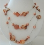 Peach Shelll & Pearl 3 Stranded Long Necklace Shell w/ Simulated Pearl 26 Inches Necklace
