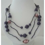 Three Stranded Beaded Necklace Simulated Purple Pearl Millefiori Painted Beads 20 Inches Long Necklace