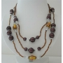 3 Stranded Golden Beads Necklace Simulated Brown Pearl Millefiori Painted Beads 20 Inches Long Necklace