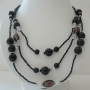 Black Pearl Three Stranded Beaded Necklace Simulated Pearl Millefiori Painted Beads 20 Inches Long Necklace