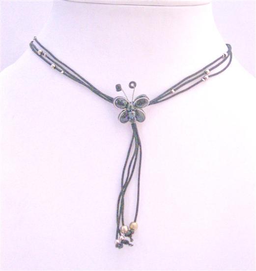 Black Butterfly Necklace Lovely Jewelry Multi String Pendant Necklace