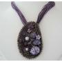 Enamel Jewelry Purple Enamel Oval Pendant Purple Multi String Necklace