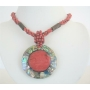 Red Beaded Necklace Button Clasp w/ Abalone Round Pendant Embedded Coral Stone