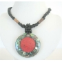 Black Beaded Necklace Button Clasp Abalone Round Pendant Coral Stone