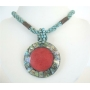 Turquoise Beaded Necklace Button Clasp w/ Abalone Round Pendant