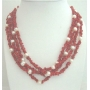 Angel Skin Coral Stone Nugget w/ Freshwater Pearls 4 Stranded Necklace