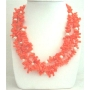 Natural Coral Orange Coral Nugget Beaded Multi 3 Strands Necklace