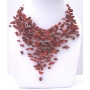 Coral Stone Nugget Stone Chip Multiple Drop Tassel Lovely Necklace