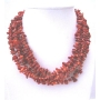 Multifaceted Coral Skin & Coral Nugget Beaded Multi 5 Strands Necklace