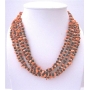 Genuine Onyx Bead Coral Skin Nugget Beaded Necklace Multi 5 Strands Necklace