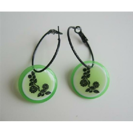 Elegant Glamorous Round Painted Flower Bead Hoop Earrings