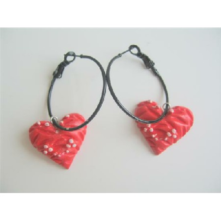 Fancy Hoop Earrings with Red Heart Dangling Fun Earrings
