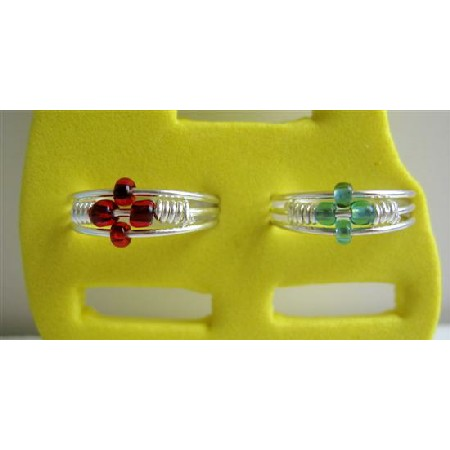 Stunning Red & Green Flower Toe Rings Alloy Metal Toe Rings