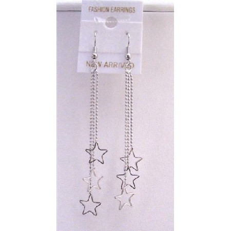 Stars Chandelier Dangling Earrings Three Strings Falling w/ Stars