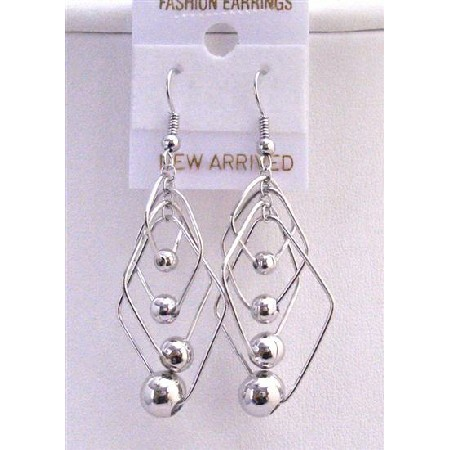 Multi Diamond Shape Dangling w/ Round Ball Accented Stylish Earrings